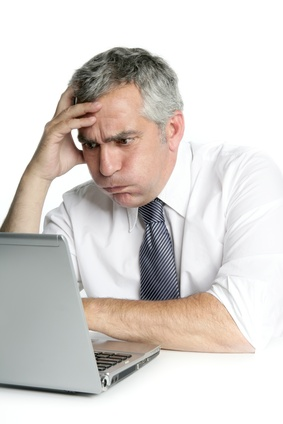 stressed person at computer